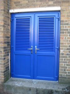 Coloured PVCu doors inc Louvred panels
