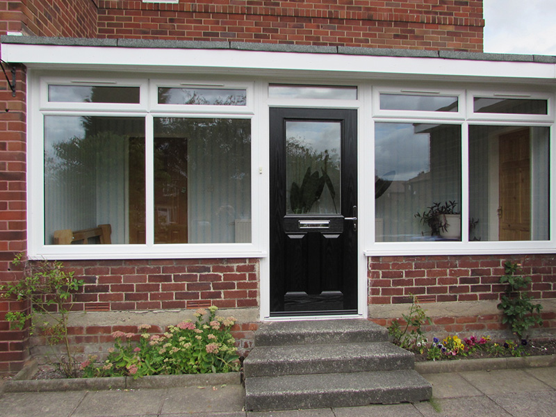 Upvc stable composite front and back doors for Upvc garden room