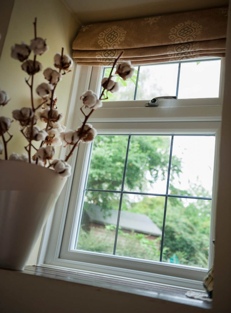 Leaded casement window interior