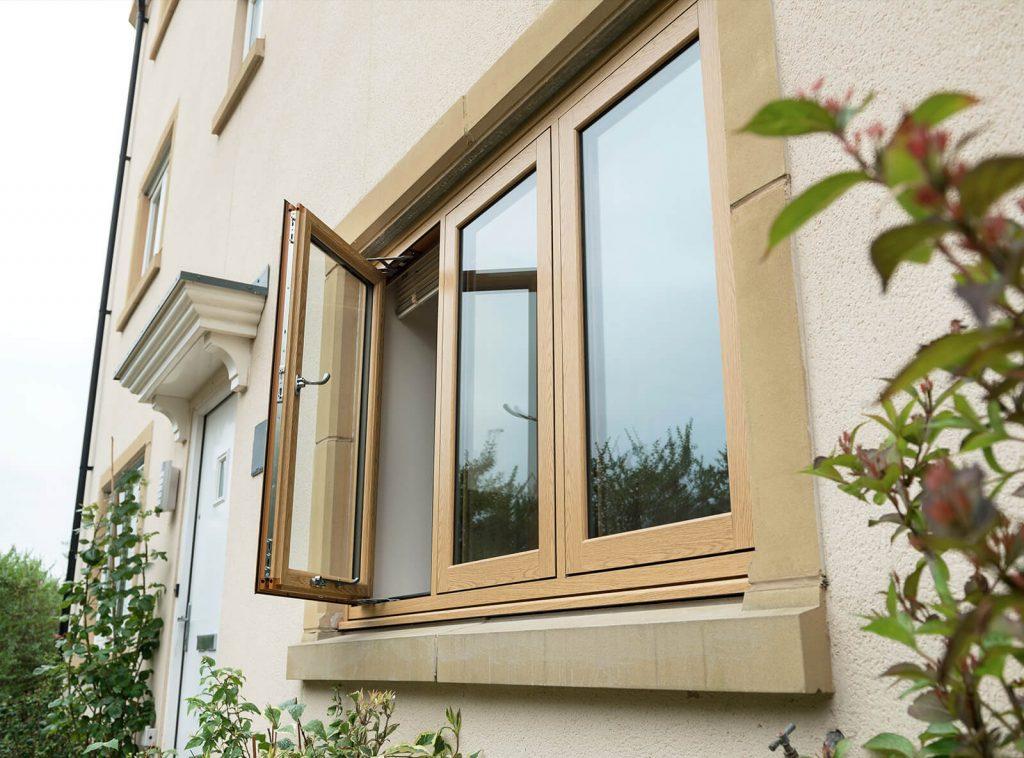 uPVC oak effect flush sash windows