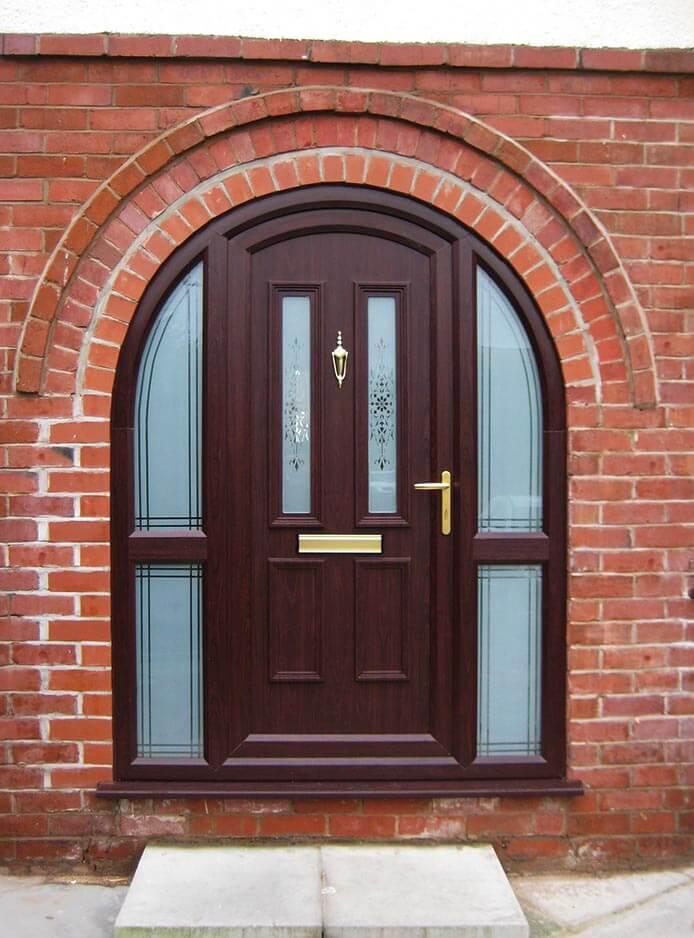 upvc arched rosewood door