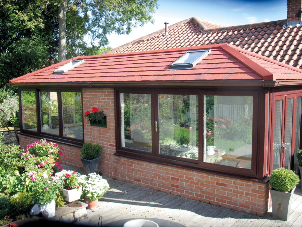 Supalite tiled roof with brick red tiles