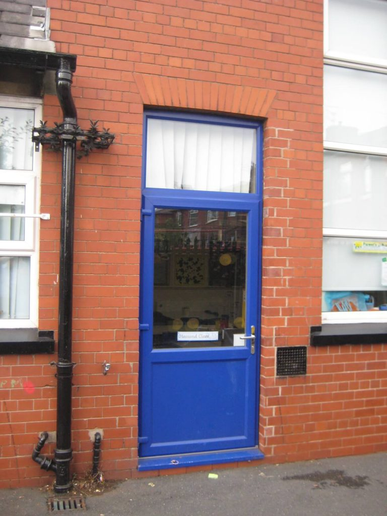 Commercial uPVC door in blue