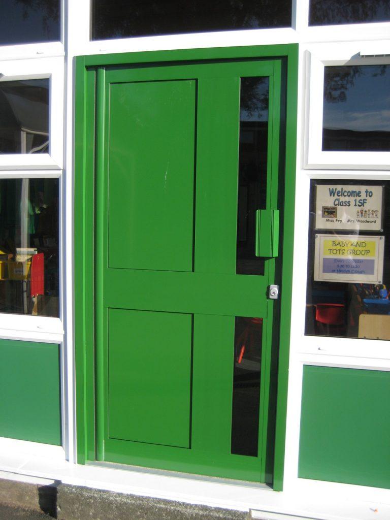 Bespoke green commercial aluminium door