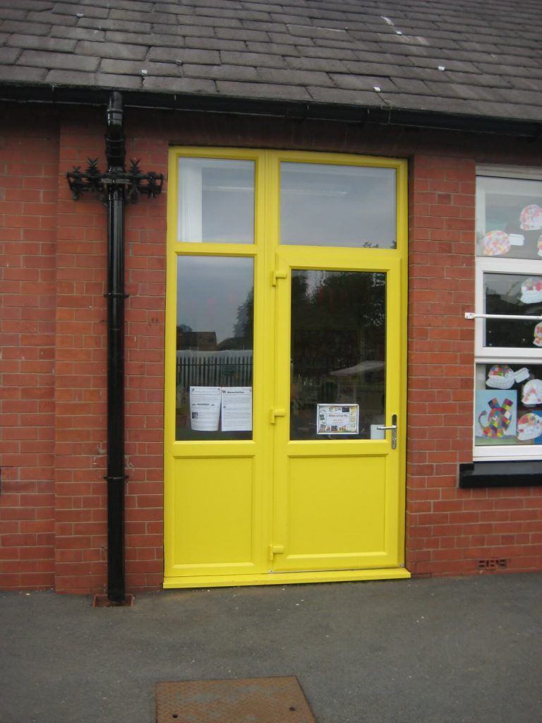 Yellow uPVC school door