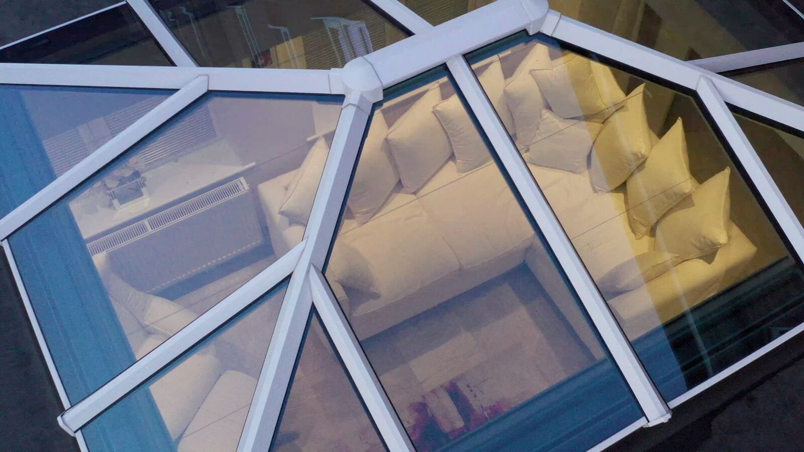 White aluminium roof lantern overhead view