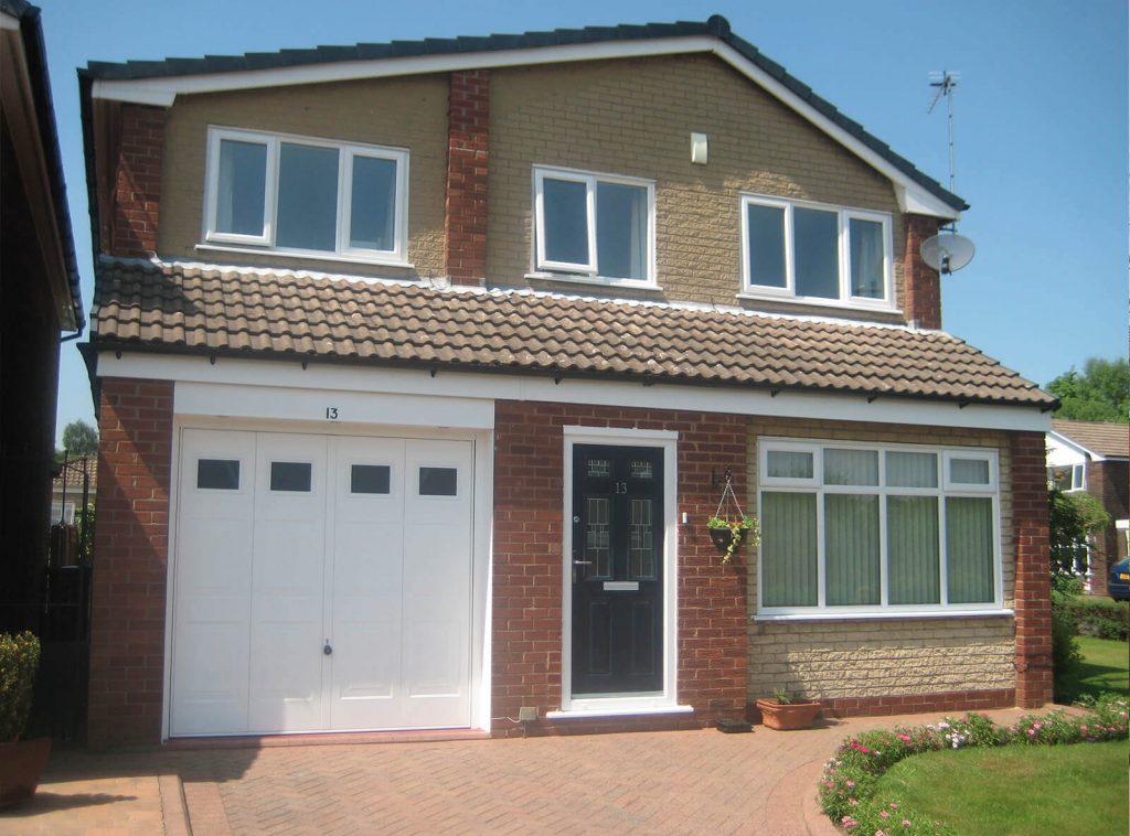 White casement windows on full house