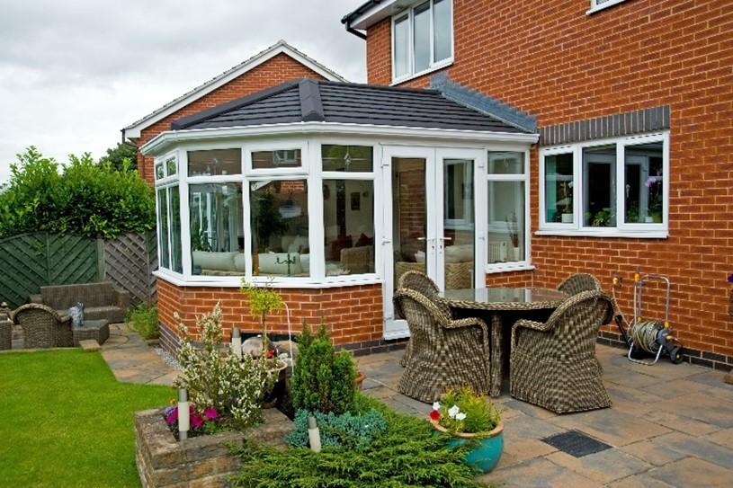 Black tiled roof conservatory